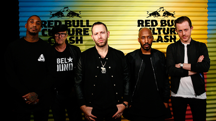 Members of Rebel Sound (Rage, David Rodigan, Saul Milton of Chase & Status, Shy FX and Will Kennard of Chase & Status pose for a portrait prior to the Red Bull Culture Clash in London, UK on October 30th 2014 // Getty Images/Red Bull Content Pool // P-20141031-00011 // Usage for editorial use only // Please go to www.redbullcontentpool.com for further information. //