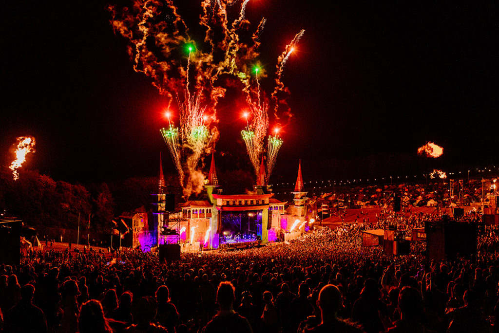 Fireworks over stage
